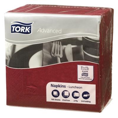 Tork Napkin 2Ply Lunch Burgundy 100X18