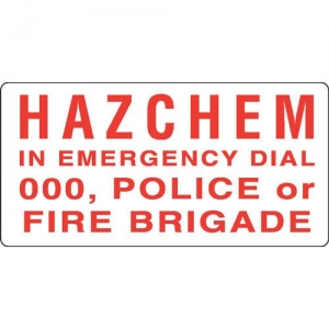 Emergency Sign Hazchem in Emergency Dial 000, 300mm x 150mm - Click for more info