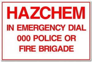 Emergency Hazchem Sign - 600 X 300Mm