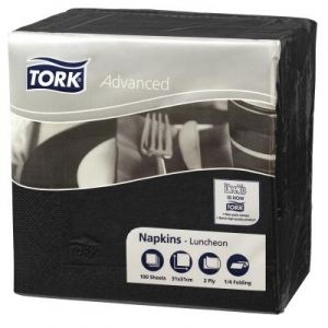 Tork 2Ply Lunch Napkin - Black 100 X 18