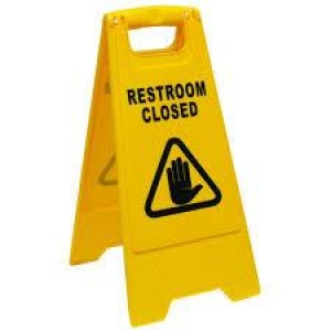 Oates Restroom Closed A Frame Sign Yellow - Click for more info
