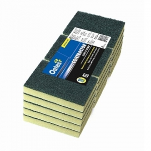 Industrial  Grade Green/Yellow Sponge Scour 10cmx15cm  Pkt/1 - Click for more info