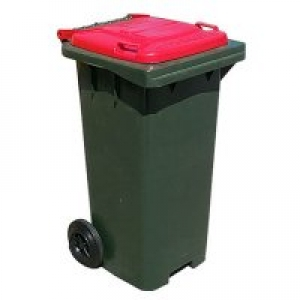 240ltr Wheelie Bin, dark green with red cabri hood lid - Click for more info